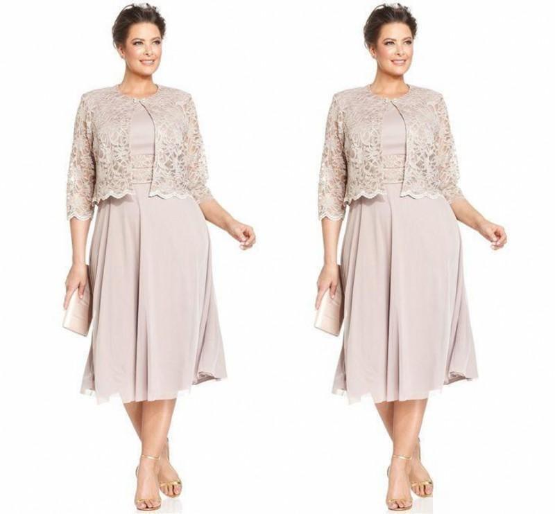 플러스 크기 차 길이 결혼식을위한 신부 드레스의 드레스 레이스 앙티크 어머니의 정식 착용 보석 목걸이 쉬폰 어머니의 파티 드레스