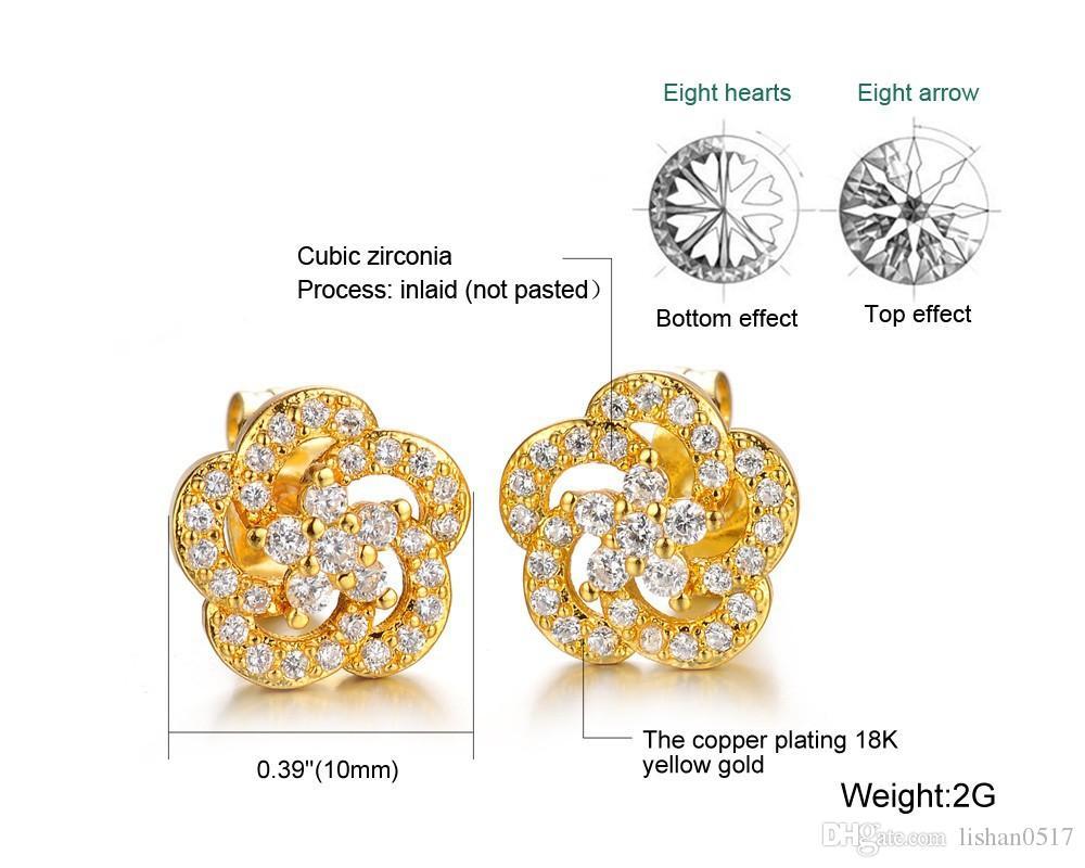 Mode à la mode 18 K plaqué or véritable ensemble de bijoux de femmes Luxe Autriche cristal blanc colliers de mariage / boucles d'oreilles à bas prix 628