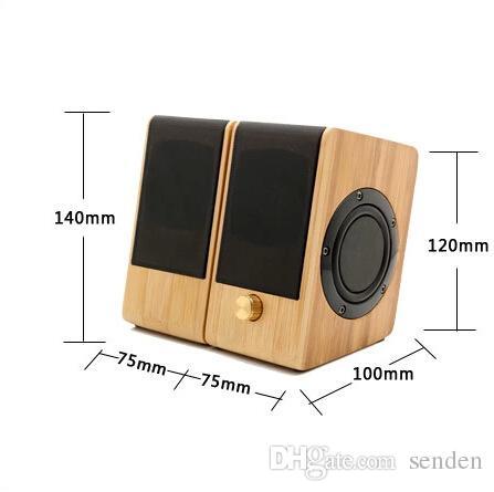 Altavoz de la computadora Estéreo Estéreo de Altavoz de Bambú Subwoofer Bamboo Subwoofer 2.0 Altavoz de Bambú de madera de madera de escritorio para PC / Laptop / Celulares