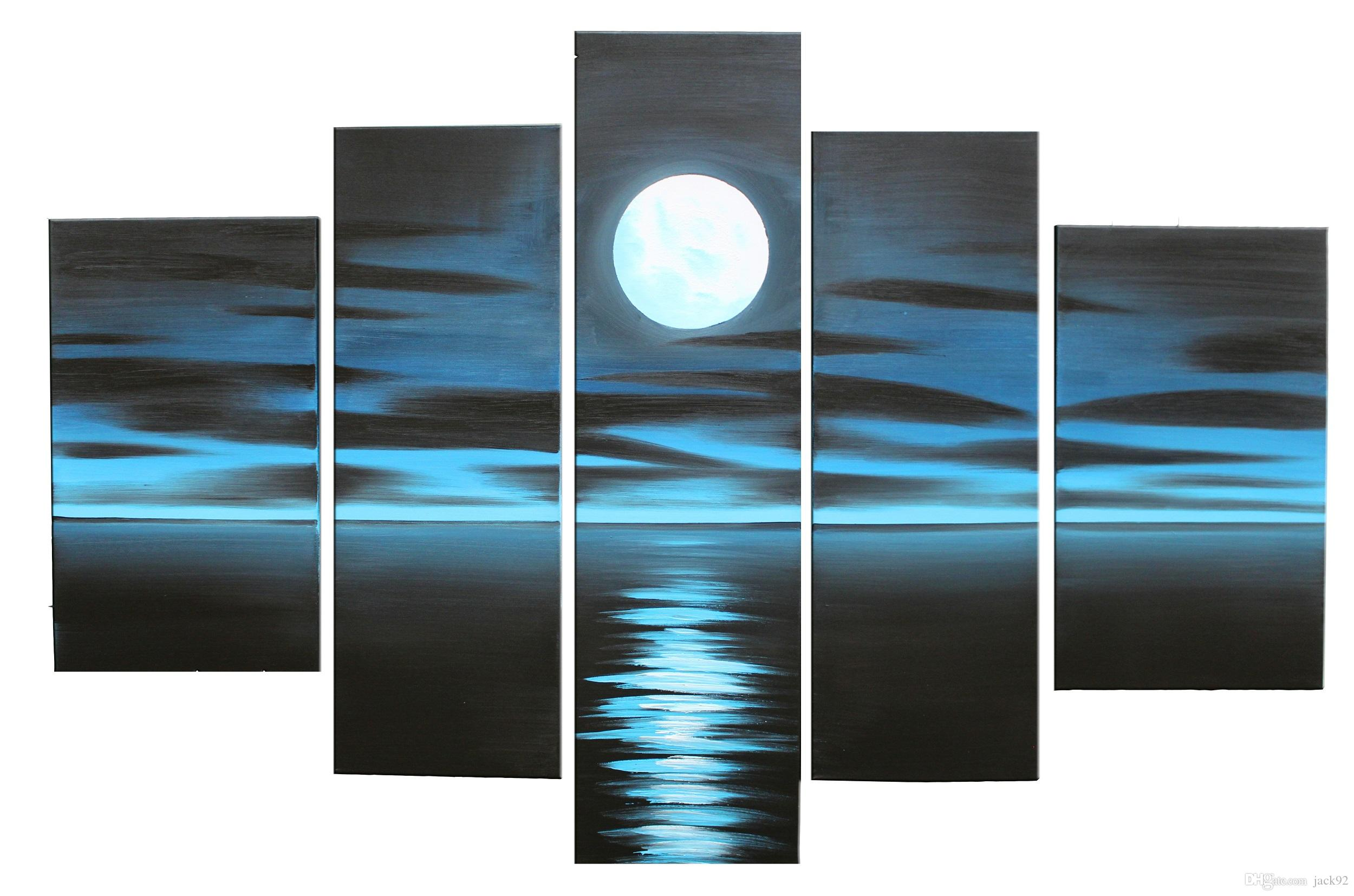 2017 100% hand painted oil paintings bright full moon on the sea