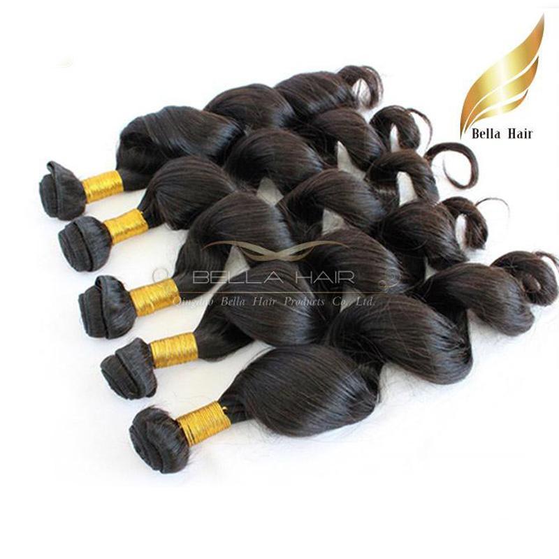 Brazilian Loose Wave Virgin Human Hair Extensions Bundles Wefts 9A DHL Drop Shipping Bellahair