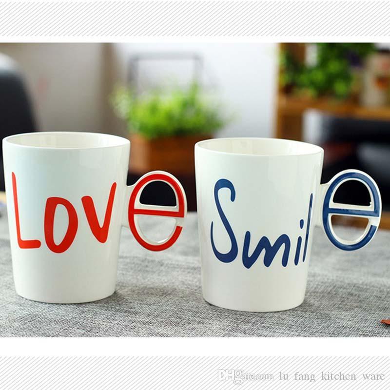 2b03c7211f ... Creative Alphabet LOVE White Ceramic Mug Set Couple Cups With Handgrip  2017 Fashion Home Drinkware Resistant ...