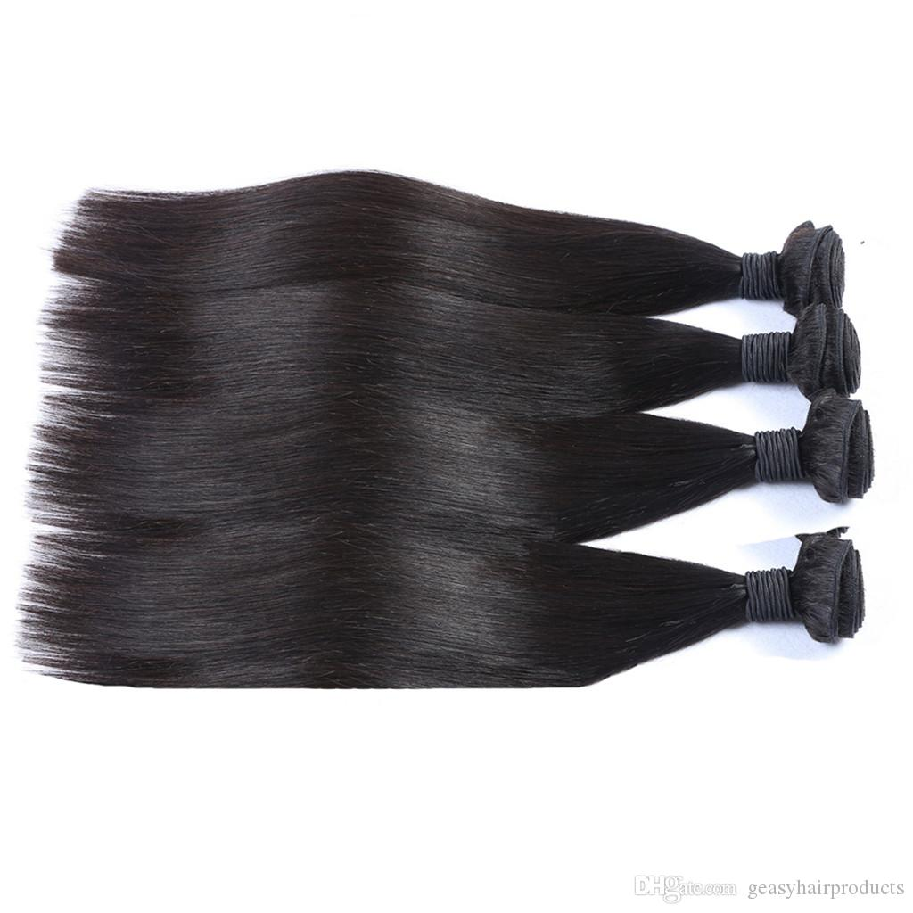 G-EASY Virgin Peruvian Straight Silk Base Frontal With Bundles Straight Human Hair Wefts With Closure