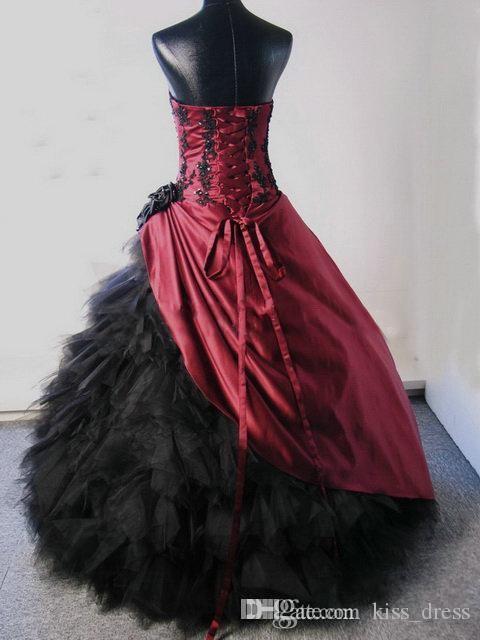 Bourgogne et robes de mariage gothiques 2019 appliques perlées plis sans bretelles Tulle robe de bal princesse robes de mariée robes De Noiva W750