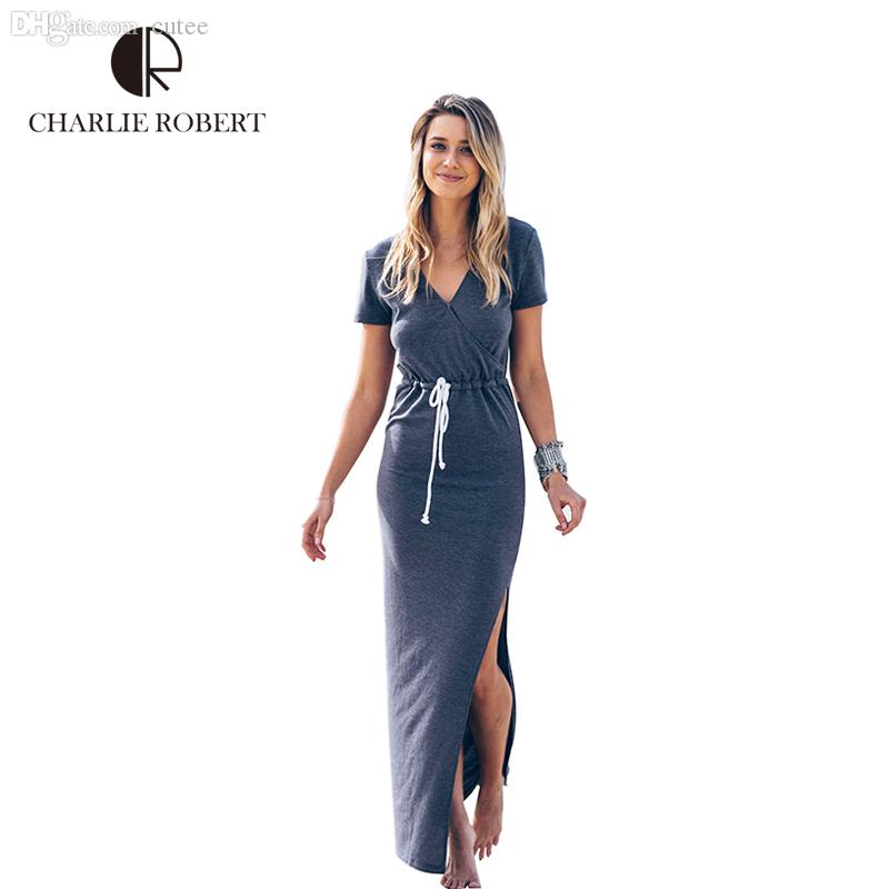 43ec720041aa9 Wholesale-2016 New Fashion Women Pencil Dress Short Sleeve Slashed ...