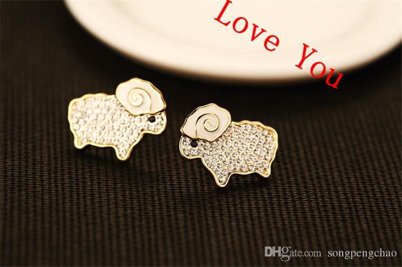 Heiße Verkaufs-Tier-Ohrring-Kristallemaille-Schaf-Bolzen-Ohrringe für Frauen-Charme Schmuck Mode-Accessoires Gold überzogen