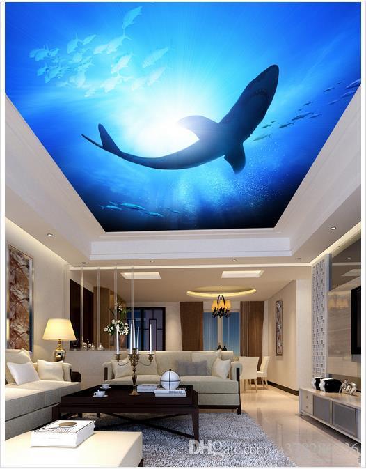 3d Photo Wallpaper Custom 3d Ceiling Murals Wallpaper Mural Ocean World  Shark Living Room Bedroom Ceiling Zenith Mural Wallp Paper Decor Free  Download ...