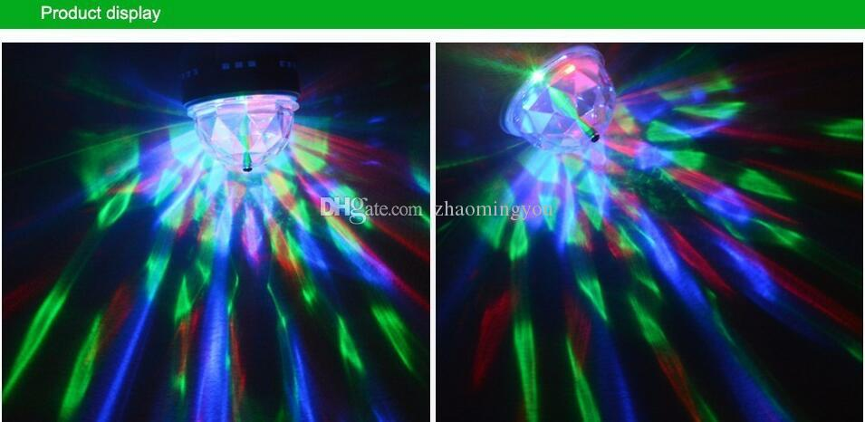 16 Modifier les couleurs RGB LED E27 lampe 3W AC 85-265V 110V 220 V Auto Rotating Stage Light DJ Disco Club Party Ampoule LED PUB