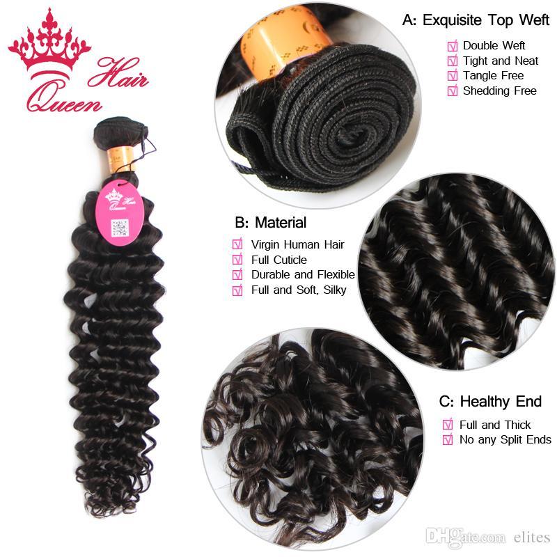 Produkty do włosów Królowej 3 sztuk / partia 100g / PC 100% Indian Virgin Hair Extension Włosy głębokich fali 12