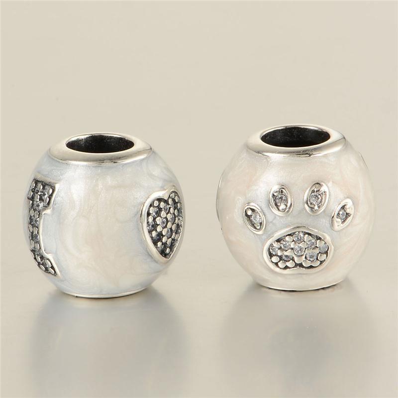 Ciondoli animali S925 perline in argento sterling adatto pandora stile gioielli bracciali di fascini spedizione gratuita impronta di cane LW560