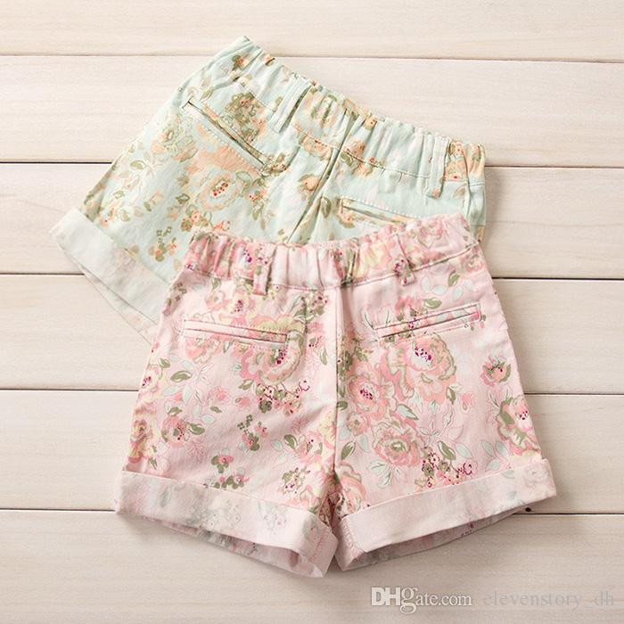 2 to 6 years new baby Girls summer floral short, retail kids casual boutique clothes, children clothing, R1ES12ST-47