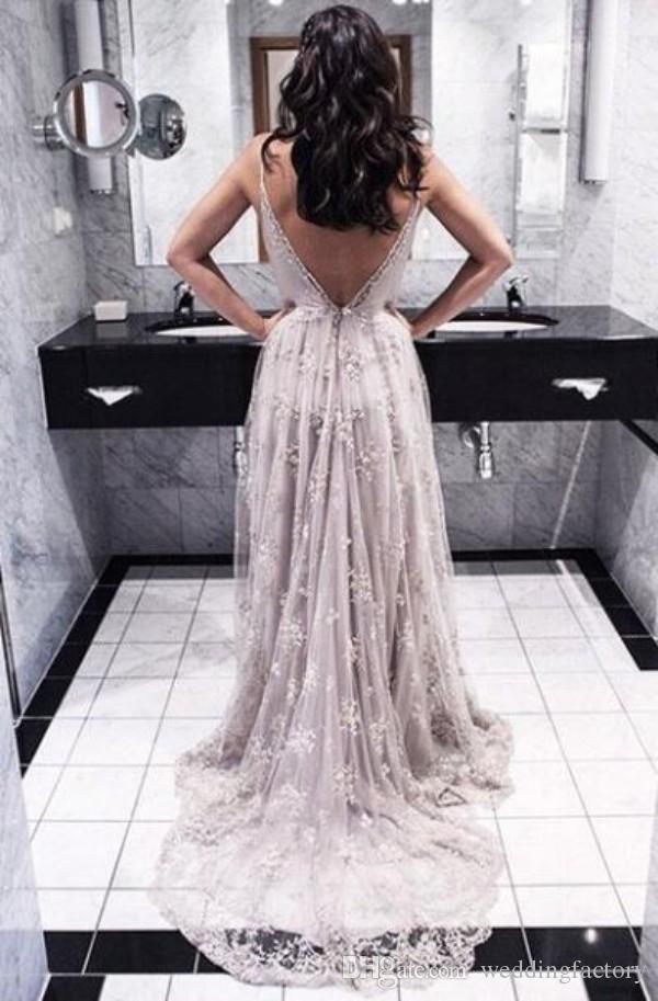 Vestidos formales elegantes y sexy Vestidos de fiesta de noche Correas de espagueti Apliques de encaje romántico Espalda abierta Vestidos de fiesta formales largos de baile Tren