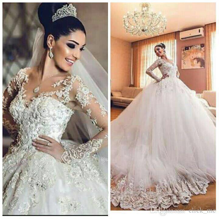 Африканские старинные свадебные платья с открытой горловиной 3D аппликации с длинными рукавами свадебное платье Люкс Тюль Саудовская Аравия свадебное платье