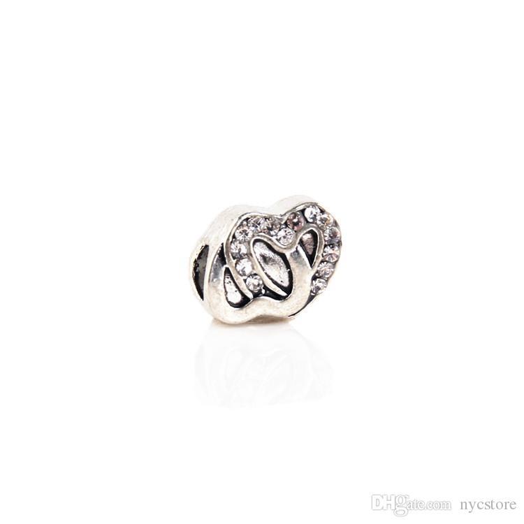 Granos flojos del metal del amor de la forma doble al por mayor con los encantos europeos de los diamantes artificiales Adapta el collar de las pulseras de Pandora
