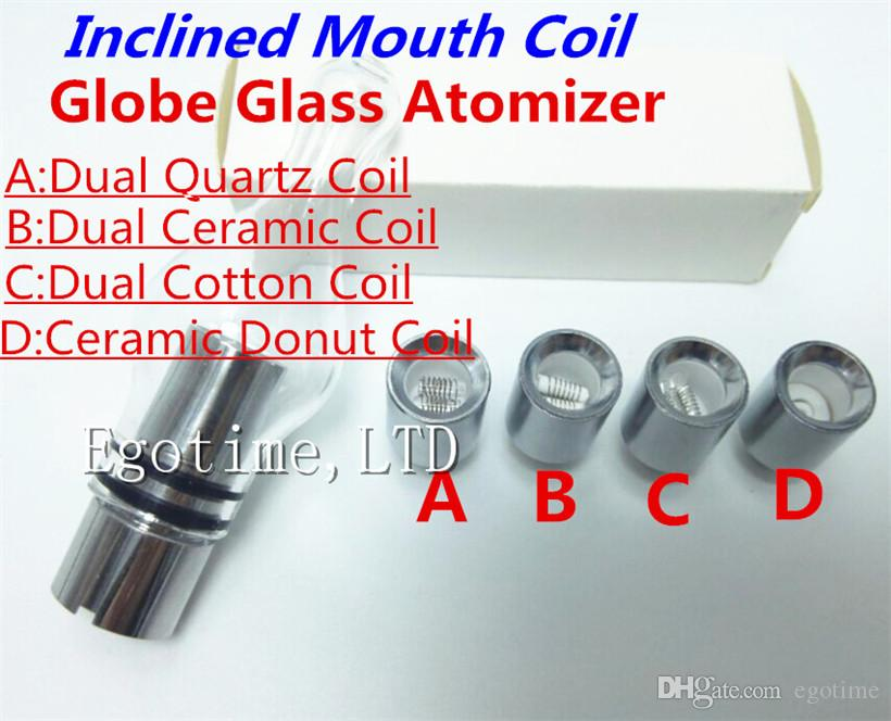 Glass Globe Atomizer Glass Tank Inclined mouth coil Wax Vaporizer Dual Quartz Ceramic Rod Cotton Donut Coils for 510 thread battery ecigs