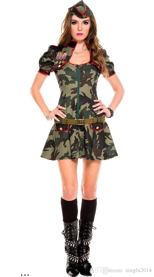 Female Soldier Camouflage USA Police Officer Uniform Jumpsuits Sexy Halloween Costumes Women