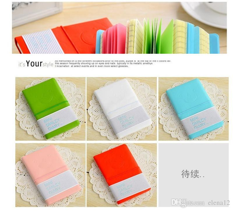 Candy color Mini smile diary leather cover portable Notebook notepad diary Note pads Travel Daily tickler busy book Stationery 280003