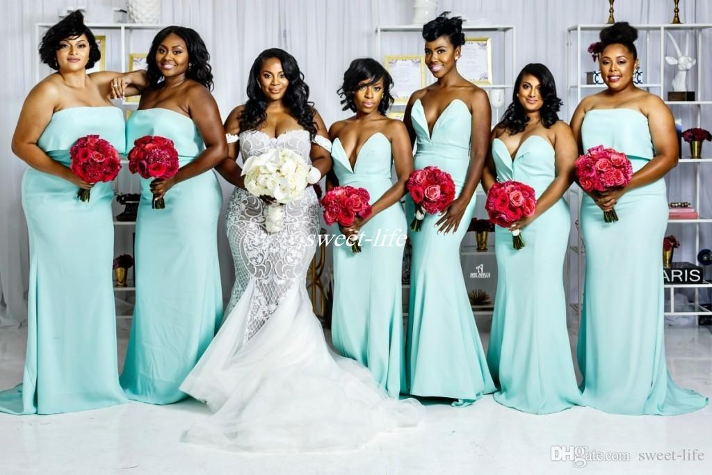 63dd16b6031 Turquoise Plus Size Long Bridesmaid Dresses 2019 Sheath Sweetheart Satin  Mermaid Boho Wedding Guest Gowns Formal Beach Maid Of Honor Dress Teenage  ...