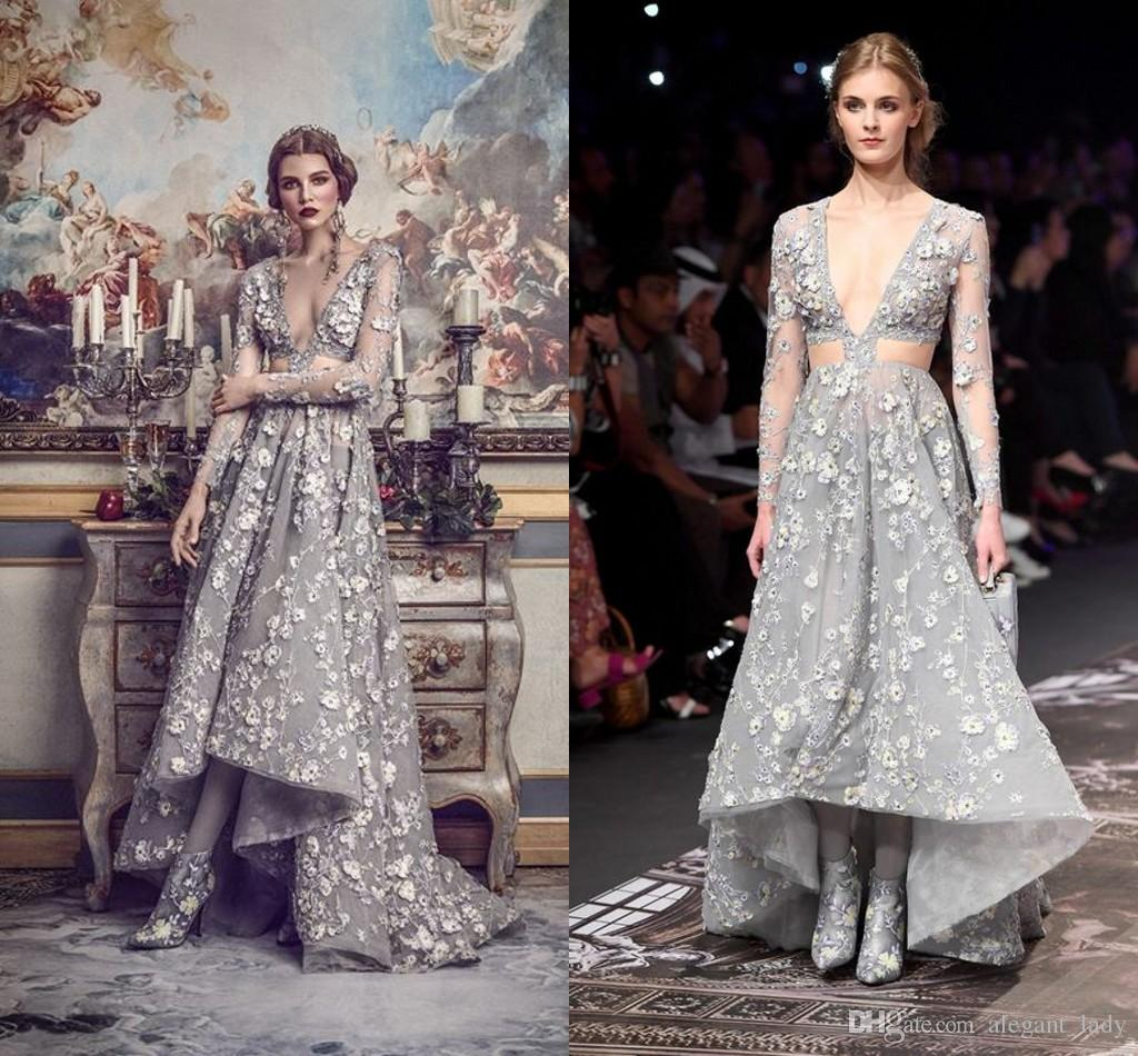 6e179729cfb Vintage Great Gatsby Long Sleeve High Low Prom Dresses 2018 Michael Cinco  Luxury 3D Applique Floral Cutside Occasion Evening Pageant Gown 80s Prom  Dress ...