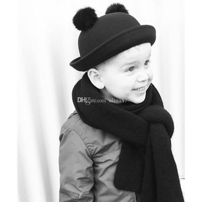 5e07e33cab73b 2019 2016 Winter Children Wool Felt Hat Cap Boys Girls Double Real Rabbit  Fur Pompoms Dome Cap Black Fedoras Bonnet Round Caps For Kids From Alina87