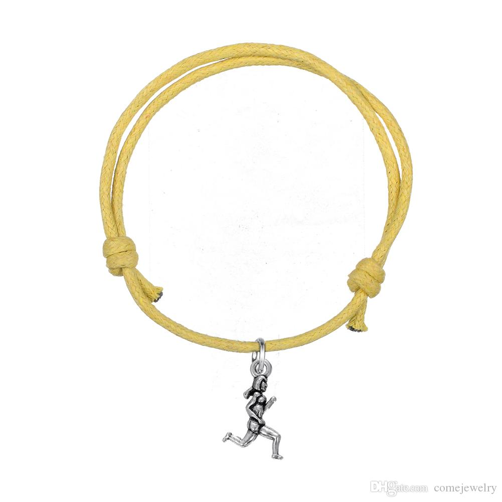 Cheap Handmade Adjustable Wax Cord Bracelet Joint Antique Silver Plated Women Runner Sports Charm Bracelet for Gift Jewelry