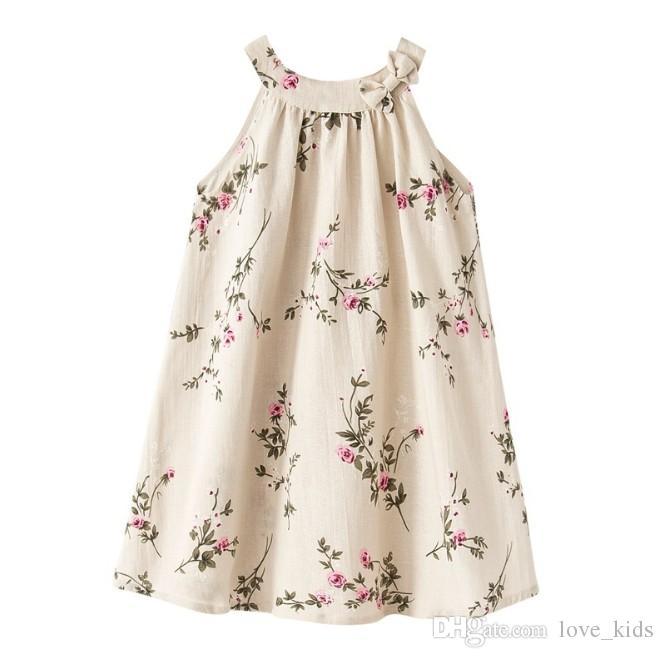 d92aaee8834d Linen Baby Girls Dress Aline Baby Girls Clothes Peach Floral Summer ...