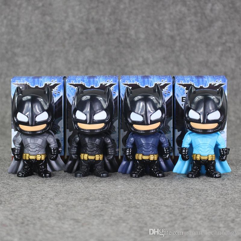 9.5cm 4Styles Super Hero Batman Q version PVC Action Figure Collectable Model toy for kids Christmas gift EMS