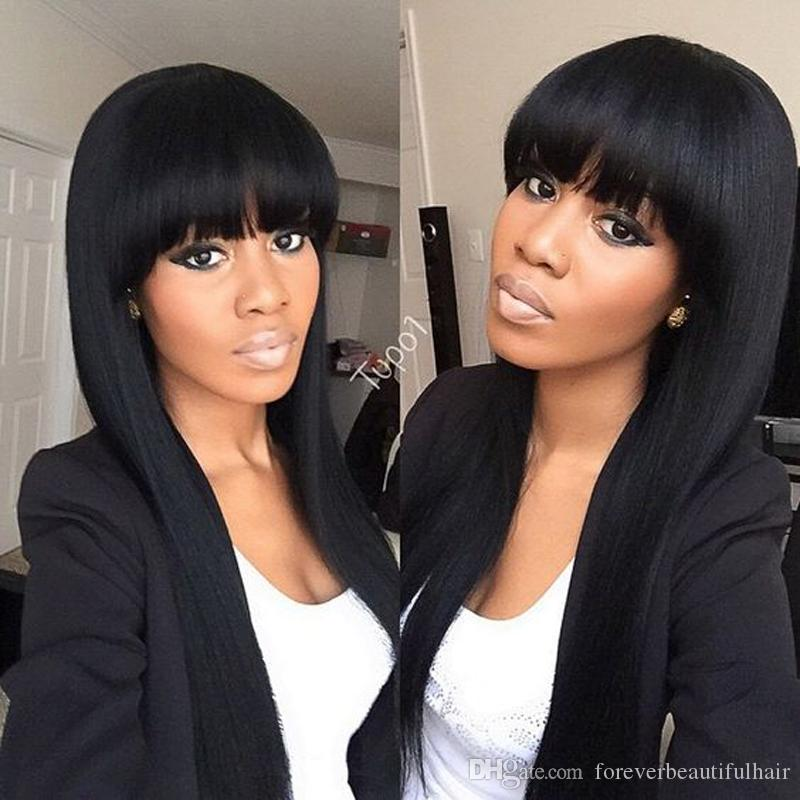 8-24 Inch Black 100% Virgin Peruvian Full Lace Human Hair Wigs With Bangs/Glueless Lace Front Wig 130 Density