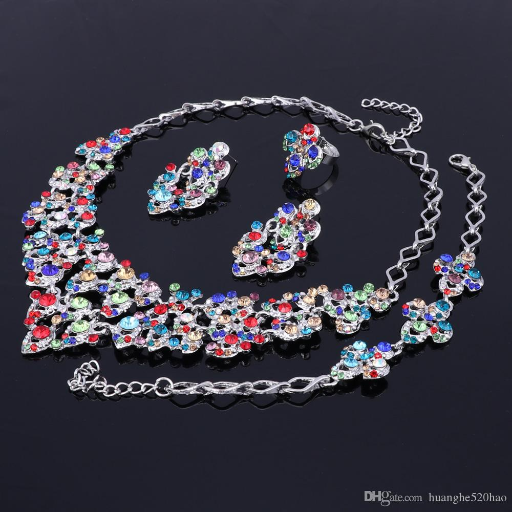 Top exquis couleurs argent cristal incrusté écharpe modèle collier bracelet boucle d'oreille bague perles africaines ensemble