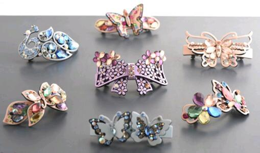 Free shipping 10pcs/lotl Mix colors Crystal hair accessories clip Hair Barrettes For Jewelry Gift HJ006