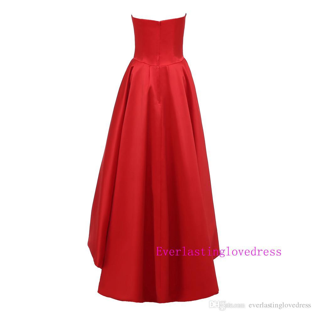 مصمم العربية الحبيب ارتفاع منخفض الأحمر ماتي الحرير فساتين السهرة الأحمر الكرة أثواب عالية أزياء مساء ثوب vestido دي فيستا