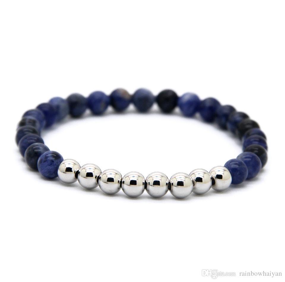 Vente chaude 6mm Pierre Naturelle Perles Bijoux Véritable Plaqué Or Rond Perles De Cuivre Hommes Bracelets Meilleur Cadeau