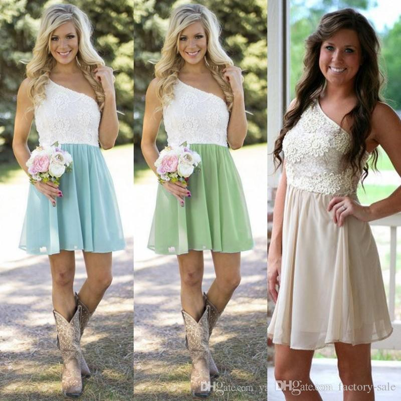 Cheap Short Bridesmaid Dresses Country Style Summer Garden Beach