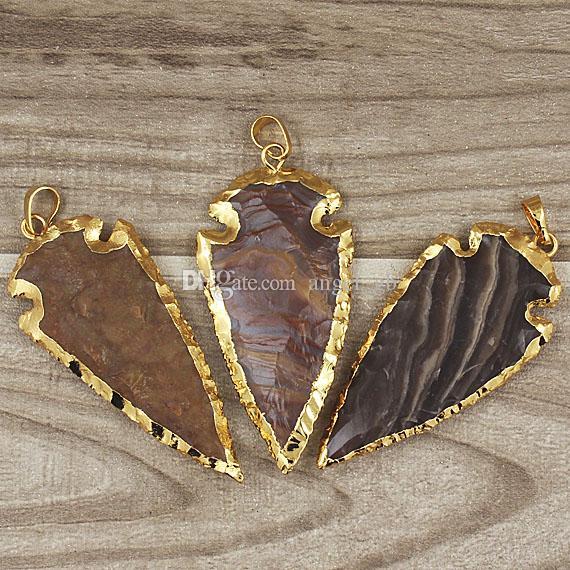 Colgante de punta de flecha natural mezclada del jaspe del envío, oro plateado multicolor cabeza de flecha de la piedra preciosa de la joya del jaspe colgante SD48_32