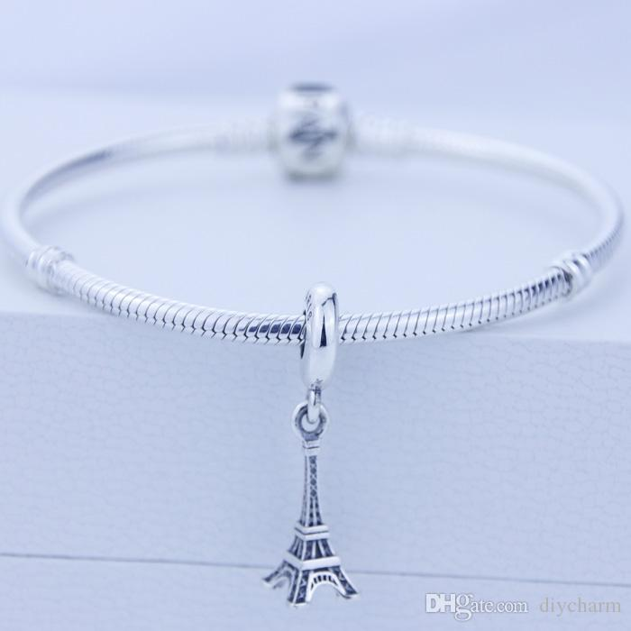 Loose beads Authentic 925 sterling Silver fashion Threaded Charms Eiffel Tower Beads Fits European Pandora Charm Bracelets Snake Chain