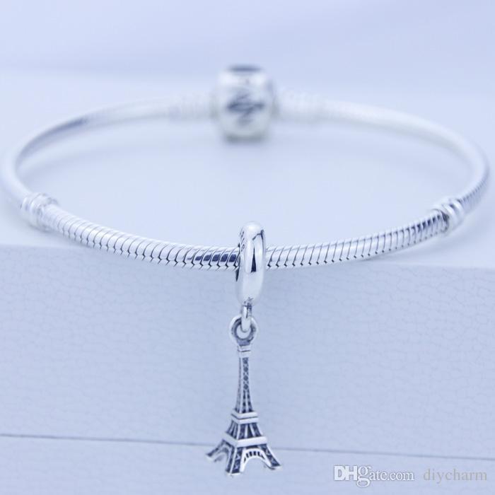 Solta pérolas Authentic 925 sterling Silver moda Encadeado Encantos Torre Eiffel Beads Serve Para Pandora Europeu Charme Pulseiras Serpente Cadeia