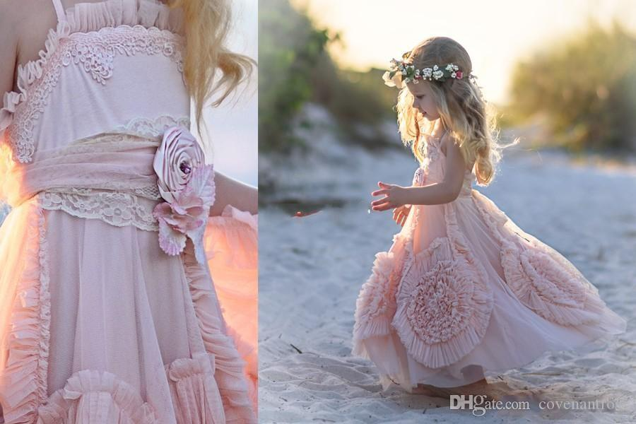 Pink Flower Girl Dresses Spaghetti Ruffles Handmade Flowers Ball Gowns Lace Tutu 2016 Vintage Little Baby Gowns for Communion Boho Wedding