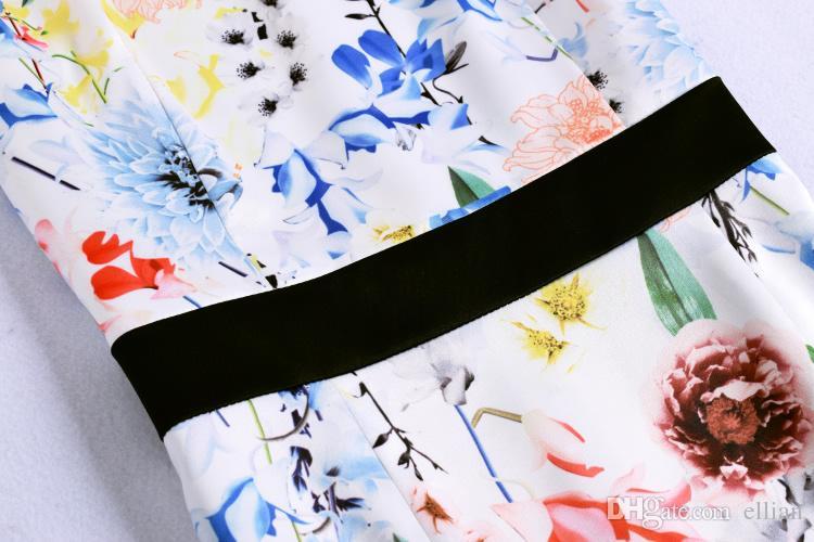 Цветок печать женщины платье без рукавов платья 074A662