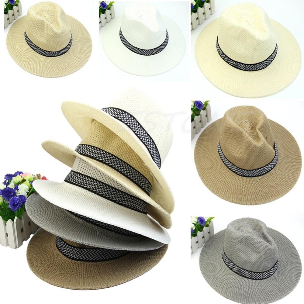 Wholesale-N94 2016 newest Chic Women Mens Summer Fedora Trilby Panama Straw Hat Beach Sunhat Gangster Cap free shipping