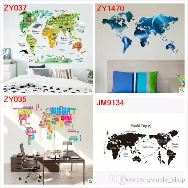 World Map Wall Decal Kids.Colorful Animal World Map Wall Stickers Living Room Home Decorations