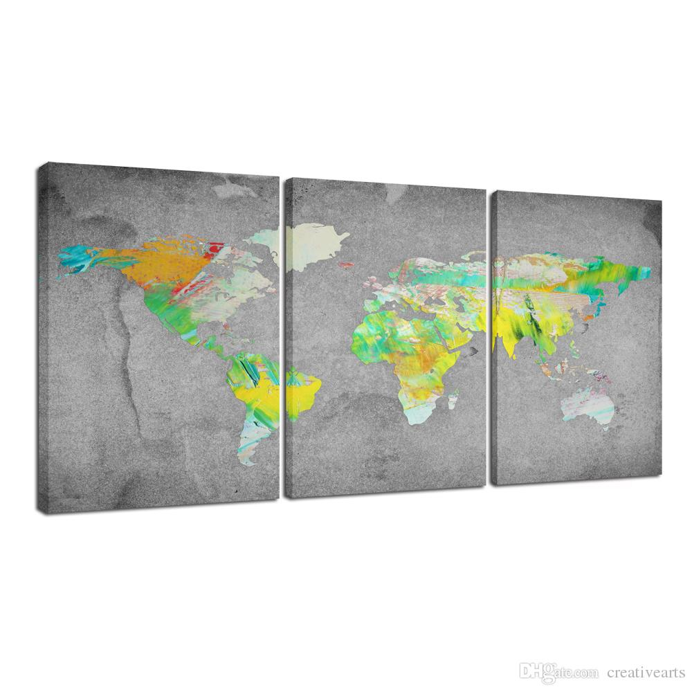 2019 3 Panel Wall Art Vintage World Map Canvas Prints Framed And