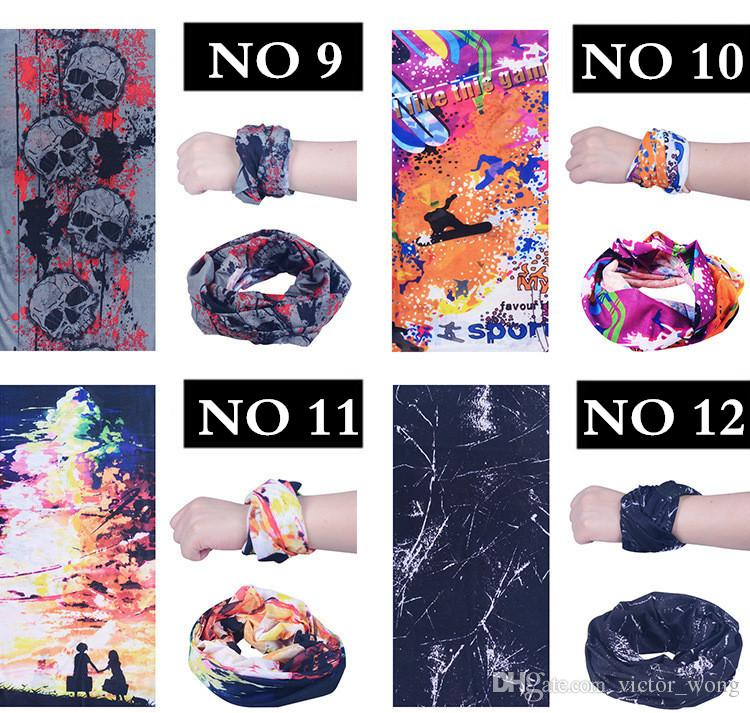 Multifunktionsschal Viele Musterfarbe Männer Frauen 2016 Populäre Zauberschals im Freien Sport Caps Hip Hop Sun Schutzausrüstung 10 Stück