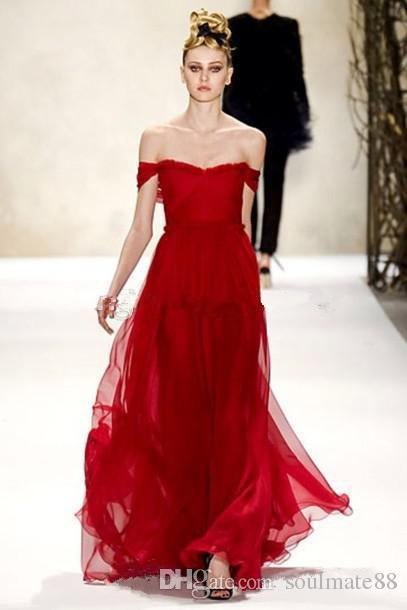 Long Scarlet Red Dress By Monique Lhuillier Sexy Off The Shoulder ...