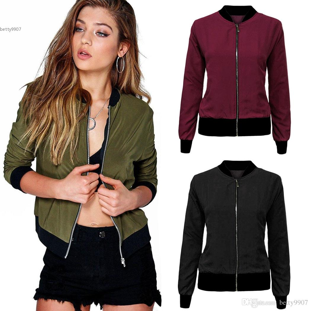 1effdff77 Bomber Jackets For Women Clothing Tin Jacket Army Green Black Wine Red  Outdoor Coat Casual Fashion Retro Zip Up Solid with Pockets