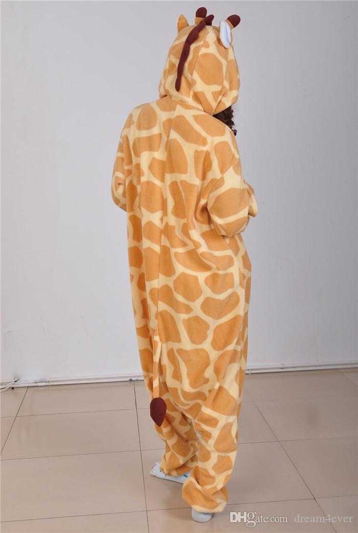 SS paño grueso y suave pijamas adultos unisex Jirafa mono Onesie Animal Cosplay Party traje niñas disfraces para mujeres