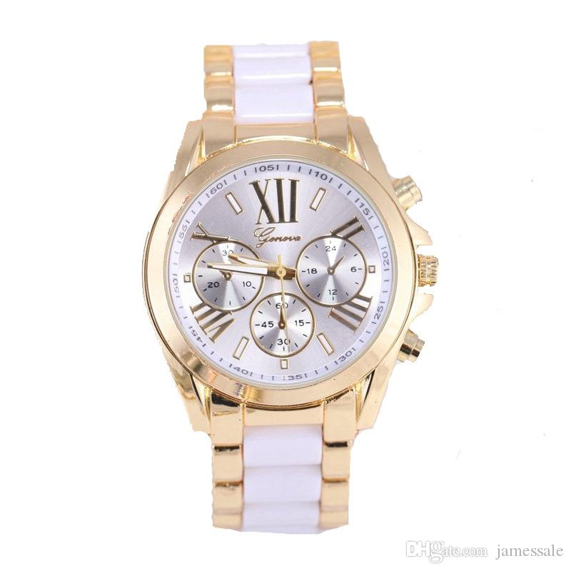 GENEVA, GENEVA watch Three eye six stitches or gold card glue men high tide Roman numerals steel band watch