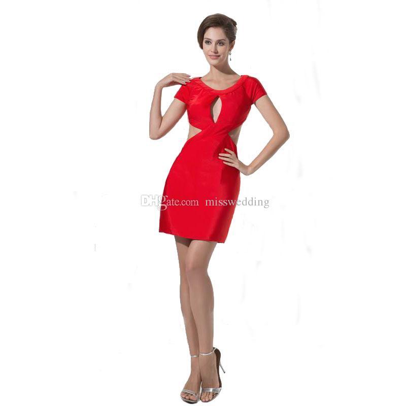 c99c53661 Vestido de moda sexy para mujer de manga corta por encima de la rodilla  Vestido de fiesta rojo espalda abierta Colección de verano 2017
