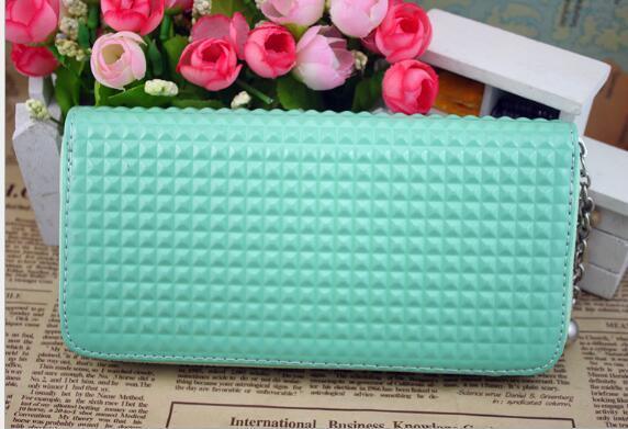 Diseñador de la cremallera de la PU de cuero de la carpeta de los regalos de la rejilla del embrague del monedero de la tarjeta larga del bolso del caramelo de colores incluso señora bolsa de la marca de alta calidad