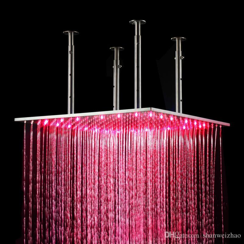 Ванная комната использовать LED насадка для душа 20 дюймов LED потолок насадка для душа с сообщением тела струи гидро мощность led душ набор