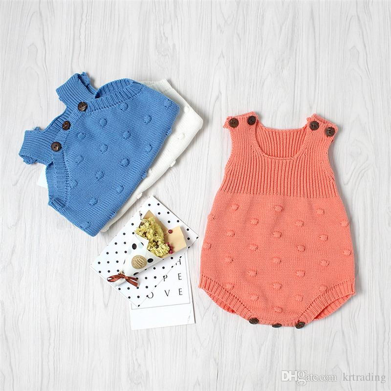 3colors Baby knitting romper infants cute crochet buttoned dots jacquard romper ins hot baby boys girls outfits for 0-2T